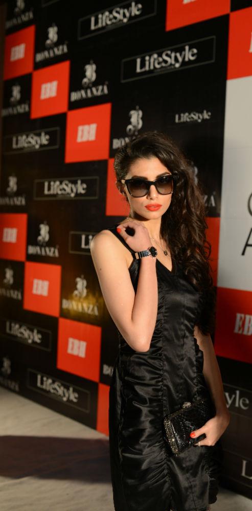 51ca256285b Sana Khan wearing a sunglass from Burberry Gold Folding Aviator   outfit by Sania  Maskatiya. Salik Munir. Zara Peerzada