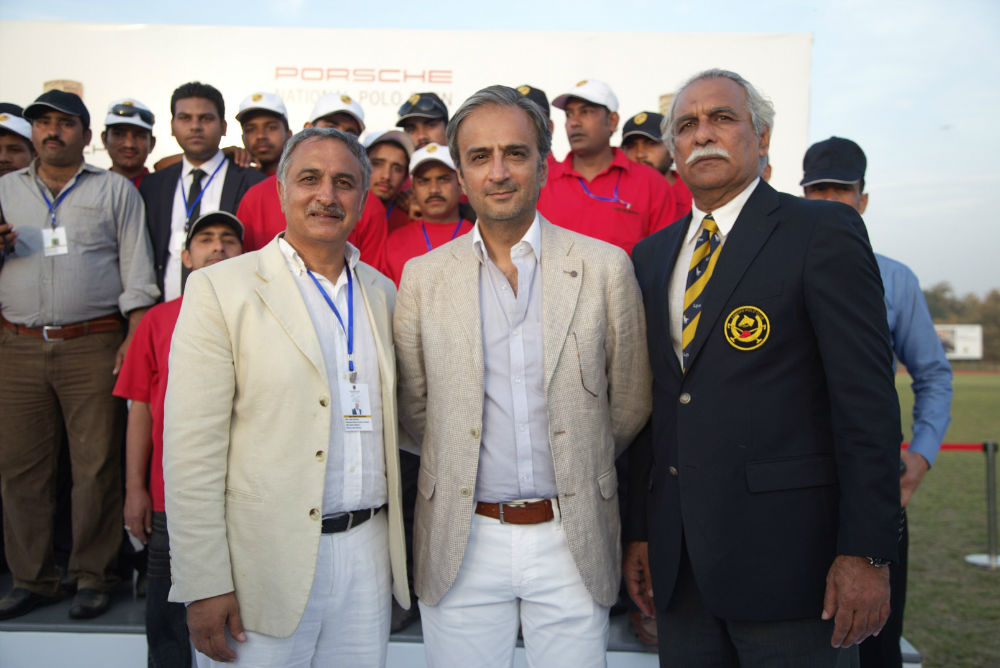 Porsche Pakistan CEO Abuzar Bokhari (centre) with Agha Najeeb and President of the Lahore Polo Club, Abdul Haye Mehta (right)